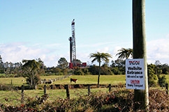 An interesting shot that shows our neighbor Greymouth Petroleum and the Tiger-1 drilling rig in the background; gives you a feel for how close they're drilling to TAG's property.