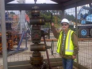 TAG Controller Dan Brown stands proudly in front of the Cheal-B5 wellhead. As announced December 5th, TAG perforated and flow tested 20 meters of continuous oil-and-gas pay in the Cheal-B5 well, in the 35 meters of net pay intercepted within the primary Mt. Messenger Formation. Today it's still going strong.