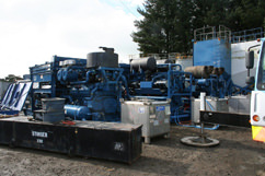 Three of the five 2000 horsepower pumps we had hooked up. 10,000 HP, baby!