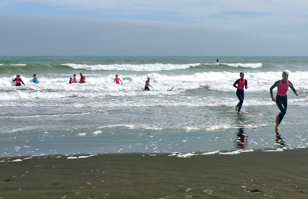 Some challenging surf encountered by the older surf life saving participants.