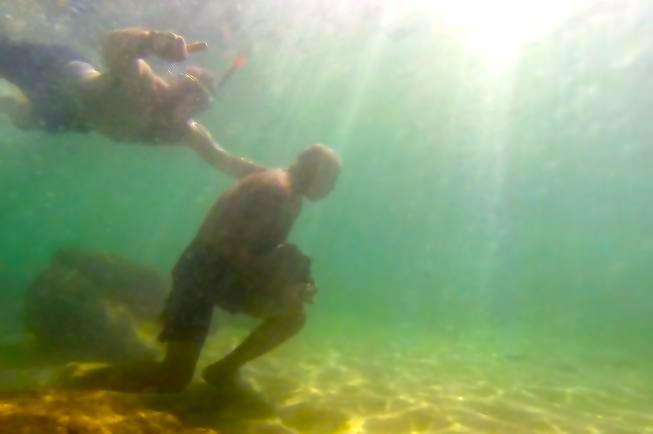 Underwater boulder running